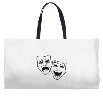 Comedy And Tragedy Theater Masks Black Line Weekender Totes Designed By Fizzgig