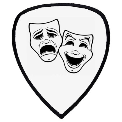 Comedy And Tragedy Theater Masks Black Line Shield S Patch Designed By Fizzgig
