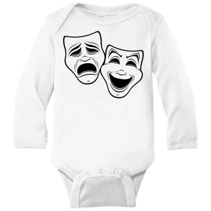 Comedy And Tragedy Theater Masks Black Line Long Sleeve Baby Bodysuit Designed By Fizzgig