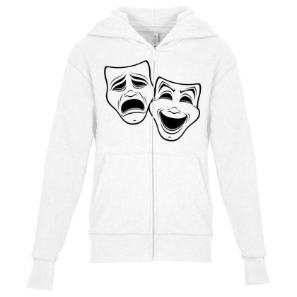 Comedy And Tragedy Theater Masks Black Line Youth Zipper Hoodie Designed By Fizzgig