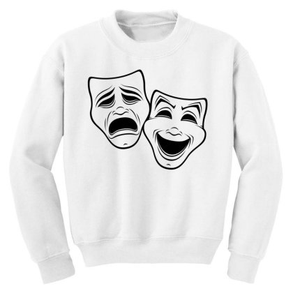 Comedy And Tragedy Theater Masks Black Line Youth Sweatshirt Designed By Fizzgig