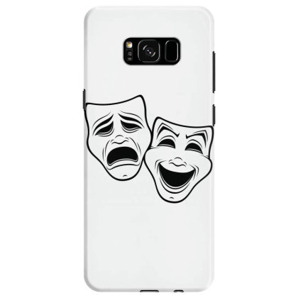 Comedy And Tragedy Theater Masks Black Line Samsung Galaxy S8 Case Designed By Fizzgig