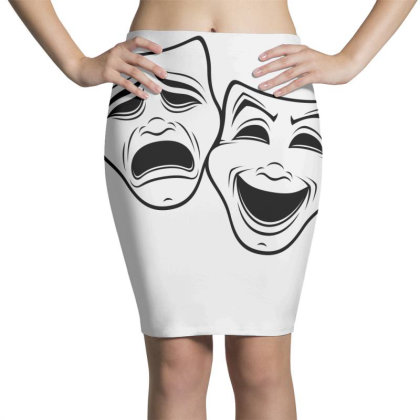 Comedy And Tragedy Theater Masks Black Line Pencil Skirts Designed By Fizzgig