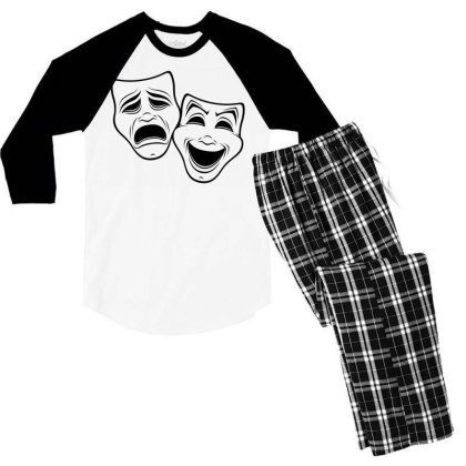 Comedy And Tragedy Theater Masks Black Line Men's 3/4 Sleeve Pajama Set Designed By Fizzgig