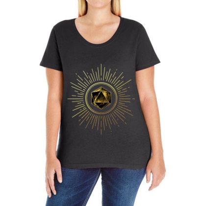 Block Prism Gold Shinny Sticker Ladies Curvy T-shirt Designed By Nugrahadamanik