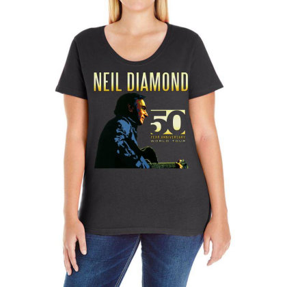 50 Years Anniversary 2017 Neil Diamond Vector Ladies Curvy T-shirt Designed By Nugrahadamanik