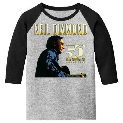 50 Years Anniversary 2017 Neil Diamond Vector Youth 3/4 Sleeve Designed By Nugrahadamanik
