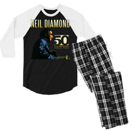 50 Years Anniversary 2017 Neil Diamond Vector Men's 3/4 Sleeve Pajama Set Designed By Nugrahadamanik