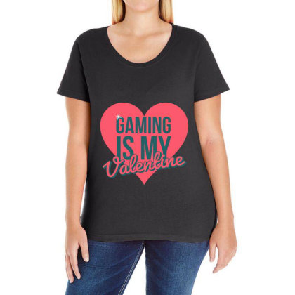 Gaming Is My Valentine Ladies Curvy T-shirt Designed By Cloudystars
