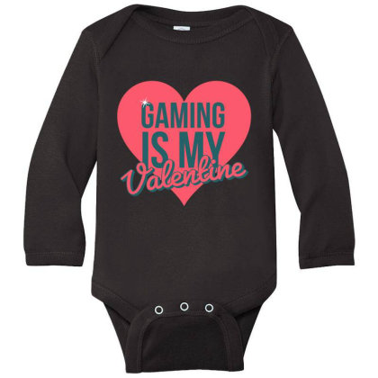 Gaming Is My Valentine Long Sleeve Baby Bodysuit Designed By Cloudystars