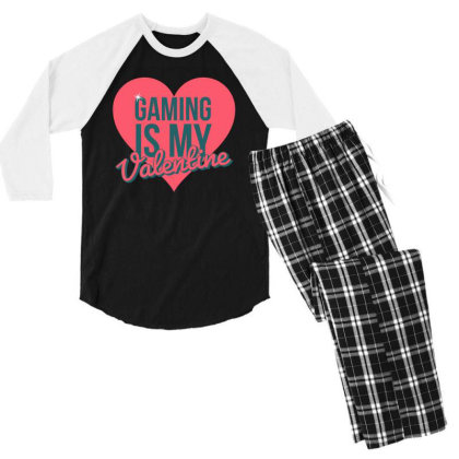 Gaming Is My Valentine Men's 3/4 Sleeve Pajama Set Designed By Cloudystars