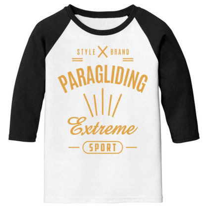 Paragliding - Extreme Sport Gift Youth 3/4 Sleeve Designed By Cidolopez