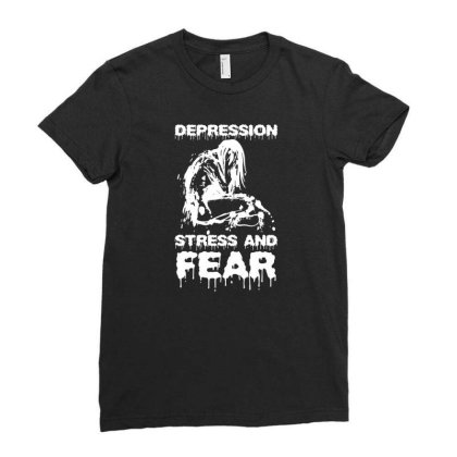 Depression, Stress And Fear Ladies Fitted T-shirt Designed By Enjang