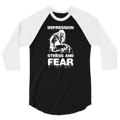 Depression, Stress And Fear 3/4 Sleeve Shirt Designed By Enjang