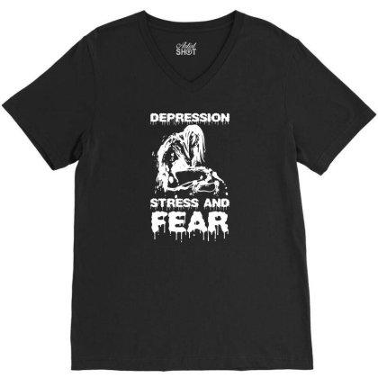 Depression, Stress And Fear V-neck Tee Designed By Enjang