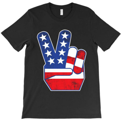 Usa Flag Peace Sign T-shirt Designed By 4905 Designer