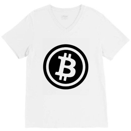 Bitcoin Logo V-neck Tee Designed By Rosdiana Tees