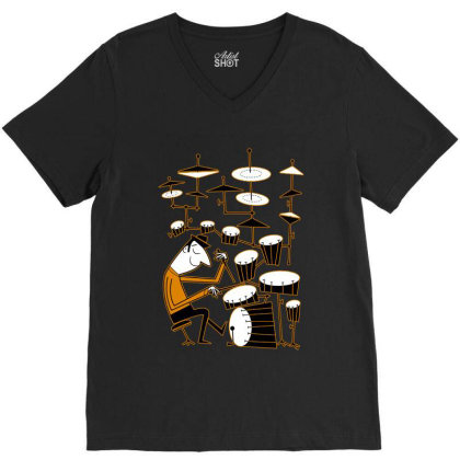 Play That Beat Drummer Funny V-neck Tee Designed By Alpha Art