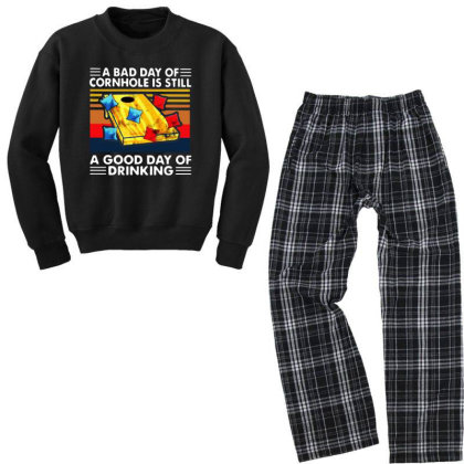 A Bad Day Of Cornhole Is Still A Good Day Of Drinking Vintage Youth Sweatshirt Pajama Set Designed By Rosdiana Tees