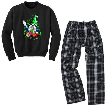 Gnomie Hug Knitting St Patrick's Day Youth Sweatshirt Pajama Set Designed By Alpha Art