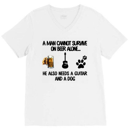 A Man Beer Guitar And A Dog V-neck Tee Designed By Rosdiana Tees
