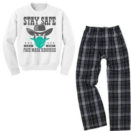 Face Mask Cowboy Outlaw Youth Sweatshirt Pajama Set Designed By Designisfun