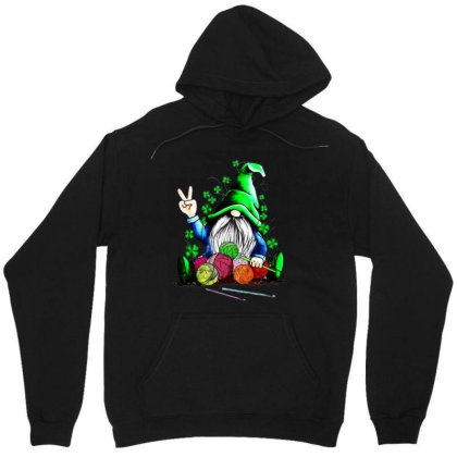 Gnomie Hug Knitting St Patrick's Day Unisex Hoodie Designed By Alpha Art