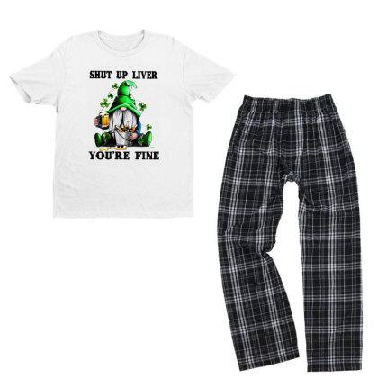 Gnomie St Patrick's Day Shut Up Liver You're Fine Youth T-shirt Pajama Set Designed By Alpha Art