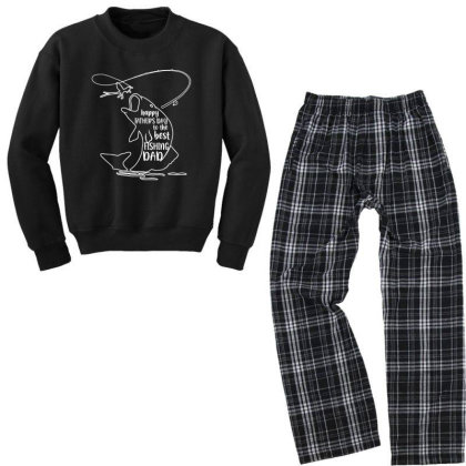Happy Father's Day To The Best Fishing Dad Youth Sweatshirt Pajama Set Designed By Alpha Art