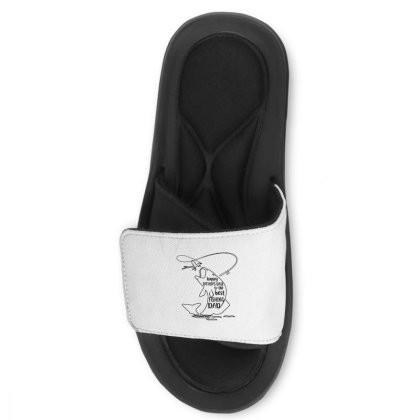 Happy Father's Day To The Best Fishing Dad Slide Sandal Designed By Alpha Art