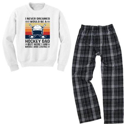 Hockey Dad Youth Sweatshirt Pajama Set Designed By Alpha Art