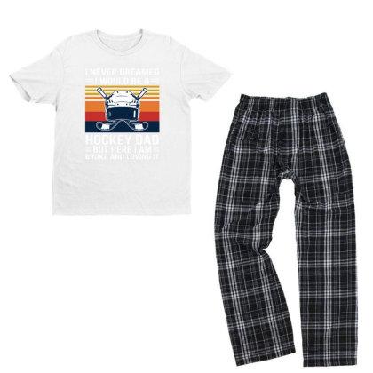 Hockey Dad Youth T-shirt Pajama Set Designed By Alpha Art