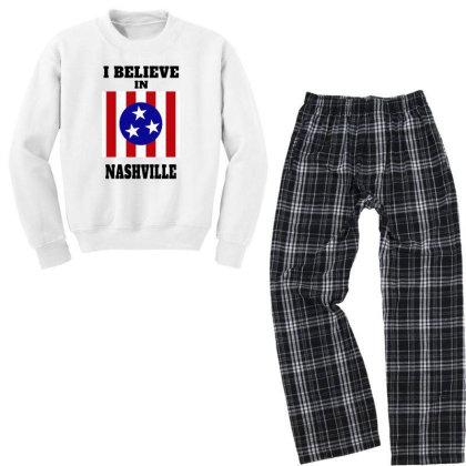 I Believe Nashville Youth Sweatshirt Pajama Set Designed By Alpha Art