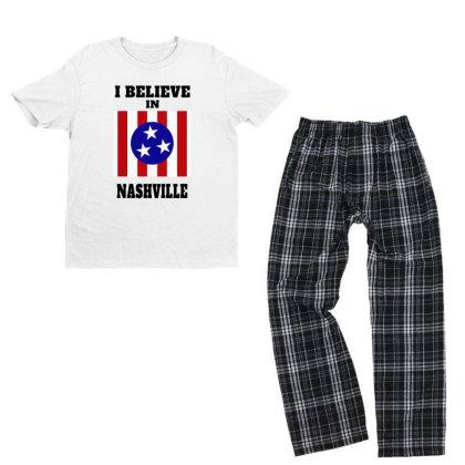 I Believe Nashville Youth T-shirt Pajama Set Designed By Alpha Art