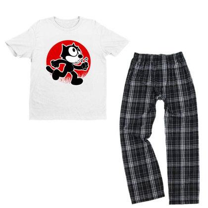 Funny Cat Adventure Youth T-shirt Pajama Set Designed By 4905 Designer