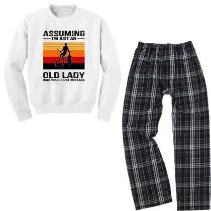 I Just An Old Lady Was Your First Mistake Youth Sweatshirt Pajama Set Designed By Alpha Art