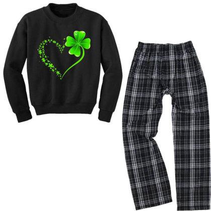 Autism Heart Shamrock Youth Sweatshirt Pajama Set Designed By Rosdiana Tees
