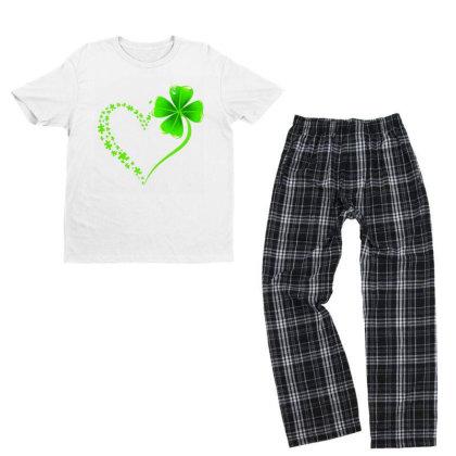 Autism Heart Shamrock Youth T-shirt Pajama Set Designed By Rosdiana Tees