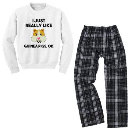 I Just Really Like Guinea Pigs Youth Sweatshirt Pajama Set Designed By Alpha Art