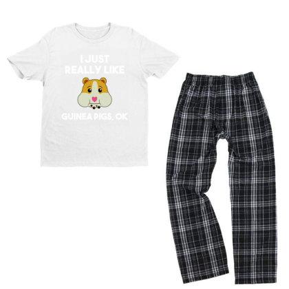 I Just Really Like Guinea Pigs Youth T-shirt Pajama Set Designed By Alpha Art