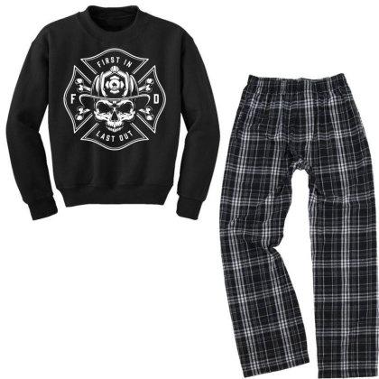 Fire Man Fireman Skull Youth Sweatshirt Pajama Set Designed By Designisfun