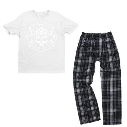 Fire Man Fireman Skull Youth T-shirt Pajama Set Designed By Designisfun