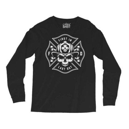 Fire Man Fireman Skull Long Sleeve Shirts Designed By Designisfun