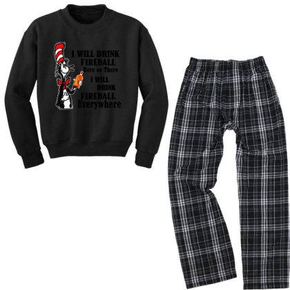 I Will Drink Fireball Everywhere Youth Sweatshirt Pajama Set Designed By Alpha Art
