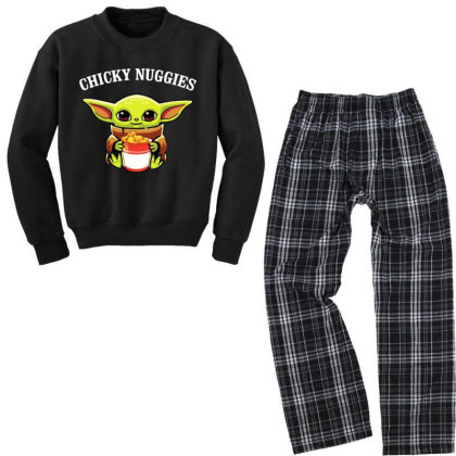 Baby Yoda Chicky Nuggies Youth Sweatshirt Pajama Set Designed By Rosdiana Tees