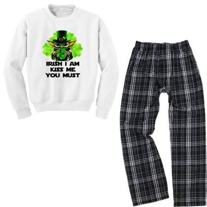 Baby Yoda Hug Shamrock Irish Youth Sweatshirt Pajama Set Designed By Rosdiana Tees
