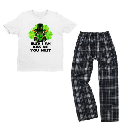 Baby Yoda Hug Shamrock Irish Youth T-shirt Pajama Set Designed By Rosdiana Tees