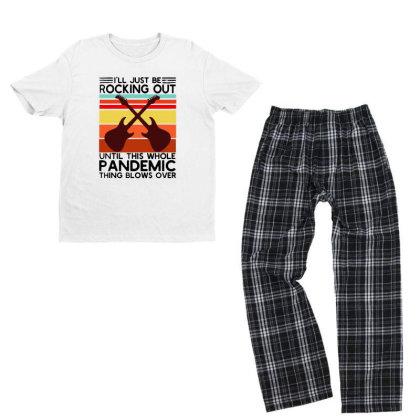 I'll Be Rocking Out Guitarist  Vintage Youth T-shirt Pajama Set Designed By Alpha Art