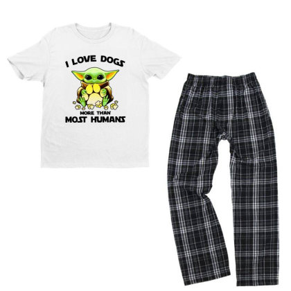 Baby Yoda I Love Dogs More Than Most Humans Youth T-shirt Pajama Set Designed By Rosdiana Tees