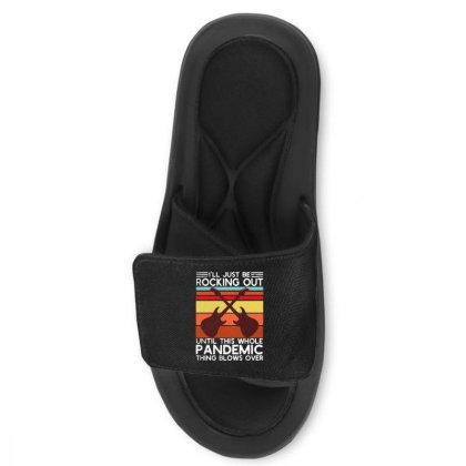I'll Be Rocking Out Guitarist  Vintage Slide Sandal Designed By Alpha Art